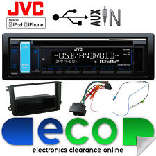 Skoda Fabia 07-15 JVC CD MP3 USB Aux Ipod Car Radio Stereo Kit Green Display