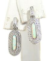 Sterling Silver Created Opal Dangle Earrings Colorful Dazzling CZ Border