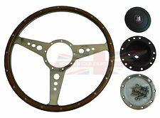 "New Moto-Lita 15"" Wood Steering Wheel & Adaptor Triumph TR4 TR250 TR6 Moto Lita"