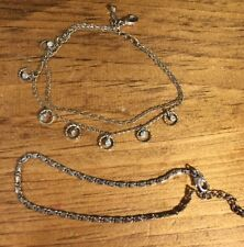 2 Vintage Avon Silver Plated ankle bracelets
