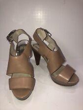 Michael Kors Carla Tan Leather Platform Heel Slingback Women's Sandals Sz 11 M