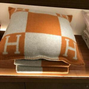 H Wool Cashmere Thick Throw Plaid Pillow Case Sofa Travel Car Cushion HOT NEW