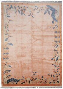 Rare Vintage Art Deco Rug Silk Chinese Rug Art Nouveau Handmade Rug Pink 8x11