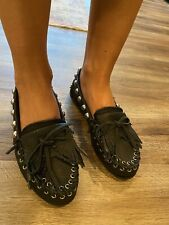 Minnetonka / Rebecca Minkoff Moccasin Shoes, Black Leather, Size 7