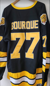 NWT Ray Bourque Boston Bruins Classic Black Throwback Jersey #77 Size 3XL Hot