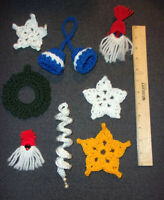 Vintage Lot of 8 Handmade Christmas Ornaments  Bells Wreath Santa Stars Icicle