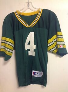 VINTAGE GREEN BAY PACKERS JERSEY SHIRT CHAMPION FAVRE YOUTH MED #4 10-12
