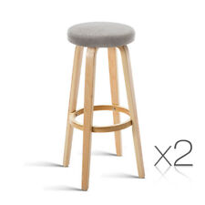 Set of 2 Bentwood Bar Stool Wooden Dining Chair Kitchen Padded Seat Taupe