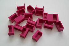 20 LEGO Panel pannelli 1x2 pagine chiuso MAGENTA NUOVO 23969