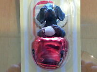 3 Pc Set DACHSHUND BLACK Dog Figurine Red Brass Bells DNC Collections Ornaments