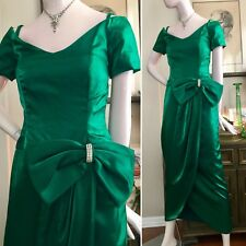 VTG 80s 90s Formal Evening Dress Draped Wrap Gown SS Emerald Green Lame Bow S/XS