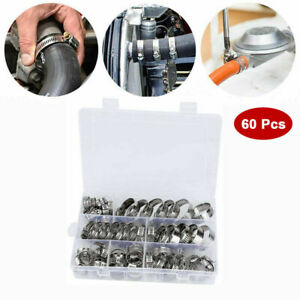 60 Pcs Assorted Stainless Steel Hose Clamp Kit With No Driver Clips Set