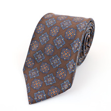 New DRAKE'S Espresso Brown Blue Floret Pattern 100% Silk Neck Tie 3.25""