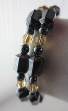 Wrap Around Healing Strong Magnetic Hematite/Gold Glass Bead Coil Bracelet