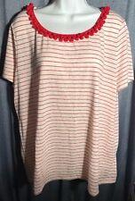 Talbots 2x red ball neckline linen blend stripes top tee shirt