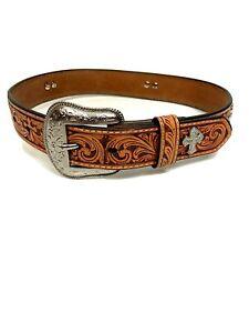 Nocona Girls Western Belt Tooled Leather Cross Conchos Unisex 22 Cowboy Cowgirl