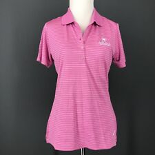 NIKE GOLF Shirt S Womens Pink Striped Polo Dri Fit Dry 585866 Embroidered New