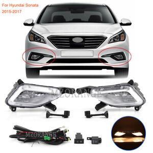 For 2015-2017 Hyundai Sonata Bumper DRL Clear Fog Light Lamps Wiring Switch Kit