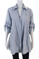 Co Womens Cotton Long Rolled Sleeve Button Down Shirt Light Blue Size S 13361511