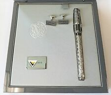 "Dupont Vendome Pen & Cufflinks ""Black Rain"" with 72 Black Diamonds MSRP $7,350"