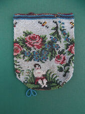 (665) Colourful Antique Glass Bead Bag / Purse # Child Roses Bees Flowers # Love