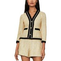 BCBG Max Azria Womens Tweed Metallic Contrast Trim Blazer Jacket BHFO 0317