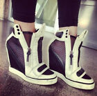 HOt Womens Platform Wedge High Heels Sneaker Mesh Spring Shoes Ankle Boots