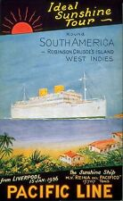 Vintage Sunshine Tour Liverpool To South America Ship Ocean Travel Art Print A4