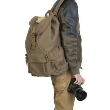 Vintage Canvas DSLR Camera Padding Case Bag Travel Backpack For Canon Nikon Sony