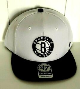 Brooklyn Nets Hat '47 Captain Snapback Cap Black Gray No Shot Two Tone NBA New
