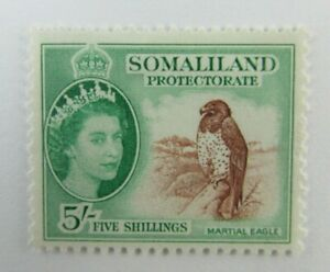 1958 Somaliland Protectorate  SC #138 MARTIAL EAGLE  MH Five shillings stamp