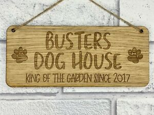 Personalised Pet Dog House, Kennel or Bed Hanging Sign With Pets Name and Year