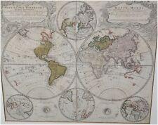 Antike Weltkarte 1746 - Planiglobii Terrestris Mappa Universalis - gerahmt