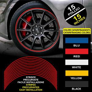 """Strisce Auto adesive adesivi cerchi CATARIFRANGENTI™ 9 mm 15"""" wheel rim stickers"""
