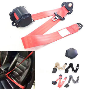 Red 3 Point Car Front Seat Belt Buckle Kit Automatic Retractable Safety Straps