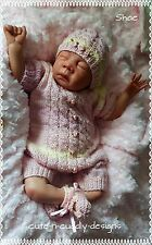 Baby /Reborn doll designer knitting pattern Romper suit,  hat , Shoes