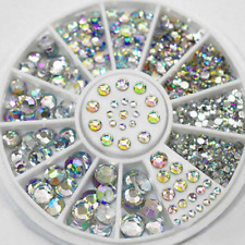 Nail Art Rhinestones White AB Glitter Diamond Gems 3D Tips DIY Decoration Wheel