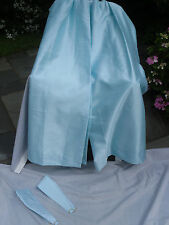 190) PAIR OF SILKY MATERIAL PALE AQUA CURTAINS