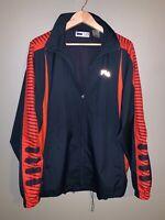 Fila Mens Windbreaker Jacket Sz XL Extra Large Navy Blue Orange Solid Full Zip