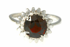 STUNNING FIREY RED GARNET AND 10K WHITE GOLD COCKTAIL RING SIZE 7