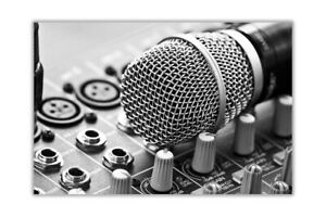 Black and White Microphone Poster Art Prints Wall Pictures