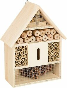 Insect Hotel Bee Bug House 30cm Hotel Wood Roof Attract Insects & Bees To Garden