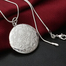 Pure 925 Sterling Silver Round Shape Locket Necklace (Pendant + Chain) #002