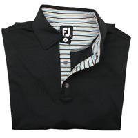 Footjoy Men's Small Black Stripe Collar Performance Golf Polo Polyester Spandex