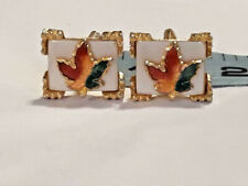 Vintage Canadian Maple Leaf Cufflinks ~ Gold Tone & Fall Colors ~ Ships FREE