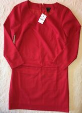 J. Crew Shift Dress 00 NWT $98 21834 Fully Lined Wool Blend Red  NEW