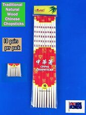 10 pairs Traditional Natural Wood Chinese Chopsticks Reusable Clear - Brand NEW