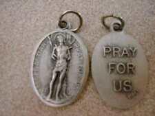 """St Sebastian / Pray for Us Oxidized Medal (7/8"""" x5/8"""")"""