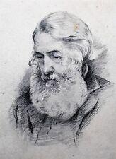 Great Framed Canadian Pencil Portrait of Elderly Bearded Gentleman c. 1930