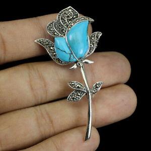 Brosche Türkis und Märkasit echte Edelsteine SOLID Sterling Silver Rose Design